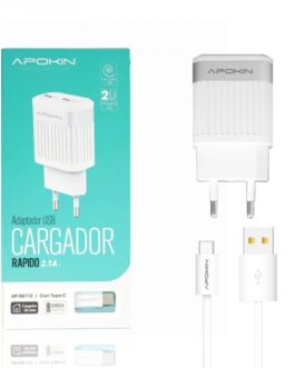 Cargador Red Doble USB 2.1A APOKIN + Cable lightning de 1 Metro – Blanco