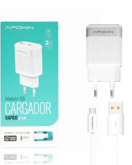 Cargador Red Doble USB 2.1A APOKIN + Cable MicroUSB de 1 Metro – Blanco